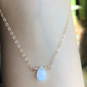 Moonstone Necklace, Crystal Necklace 14k Gold Fill